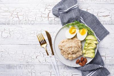 Healthy balanced breakfast in plate