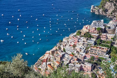 Aerial view of the beautiful town of Positano