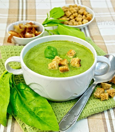 Soup puree with spinach and spoon on fabric