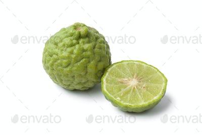 Whole and half Kaffir lime