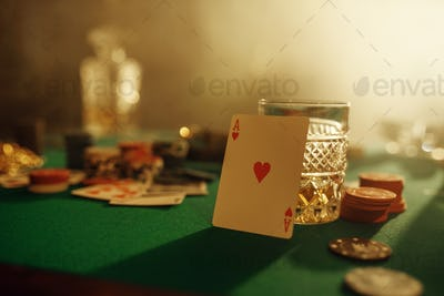 Poker concept, ace of hearts on gaming table