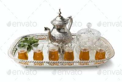 Tray with traditional Moroccon mint tea