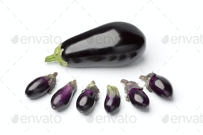 Baby eggplants and a large one