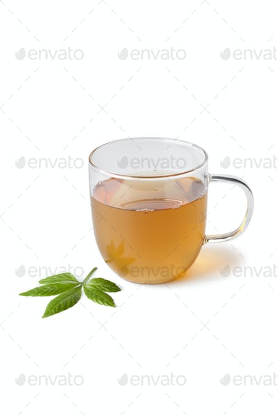 Cup of herbal tea with jiaogulan herb