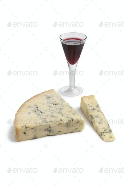 Stilton cheese with a glass of port