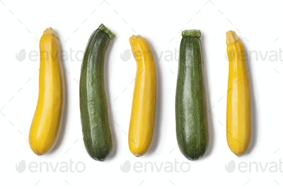 Yellow and green courgettes