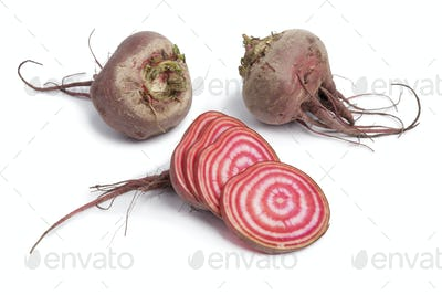 Whole chioggia beets and slices