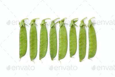 Sugar snap peas in a row