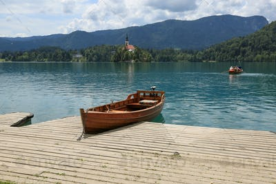 Bled lake in slovenia on sunny summer day