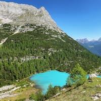 Turquoise Sorapis Lake with Dolomite Mountains, Italy, Europe
