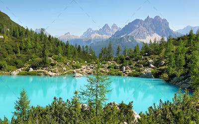 Turquoise Sorapis Lake with Dolomite Mountains, Italy, Europe