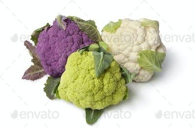 Fresh purple, green and white cauliflower