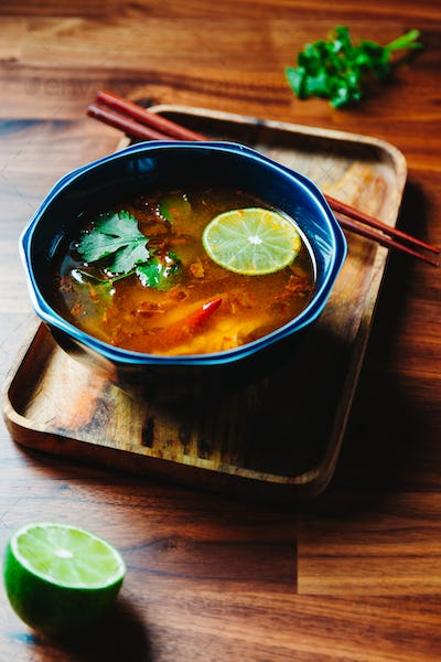 Thai vegetarian Tom Yum soup with mushrooms