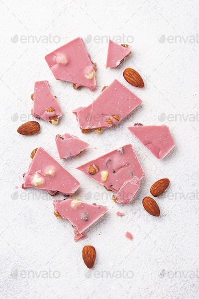 Pink or ruby chocolate, trendy food