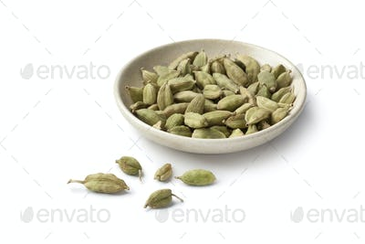 Cardamom seeds on a small dish