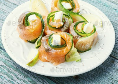 Smoked salmon roll with cheese