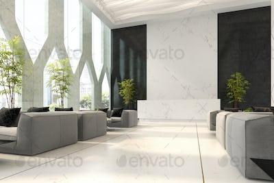 Interior of hotel and spa reception 3D illustration