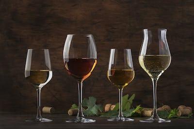 White wine set. Wine tasting