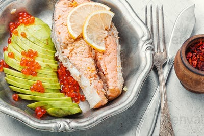 Boiled salmon steak