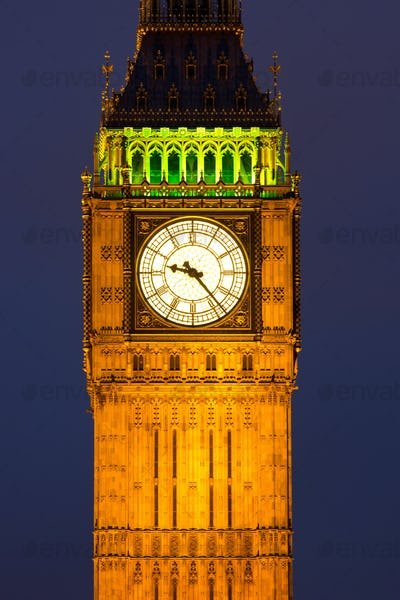 Clocktower with Big Ben at night