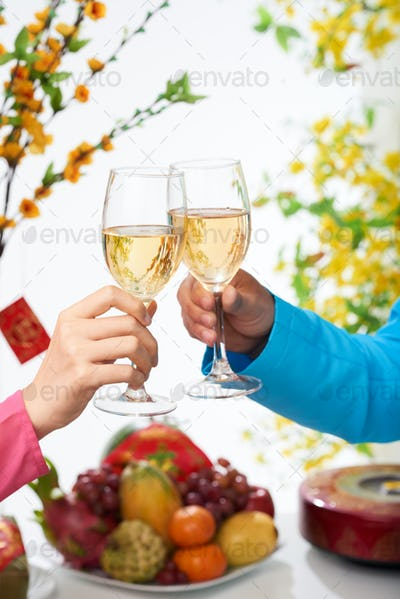 Celebrating New Year with wine