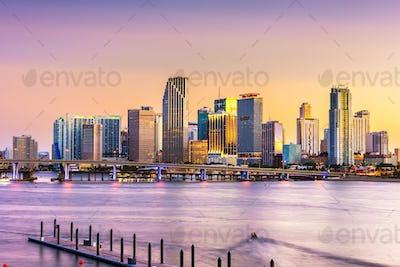Miami, Florida, USA skyline on Bisayne Bay