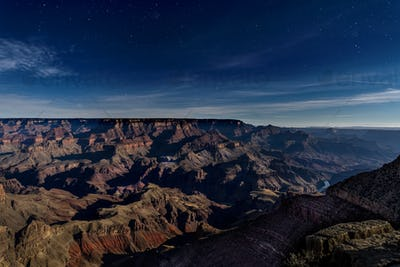 Grand Canyon at Night Lit by Moon