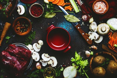 Fresh organic vegetables, ingredients, spices and meat