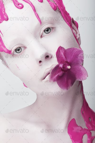 Coloring. Futuristic woman with Flower