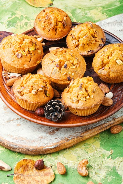 Homemade muffins with nuts