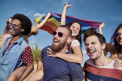 Group of best friends having fun