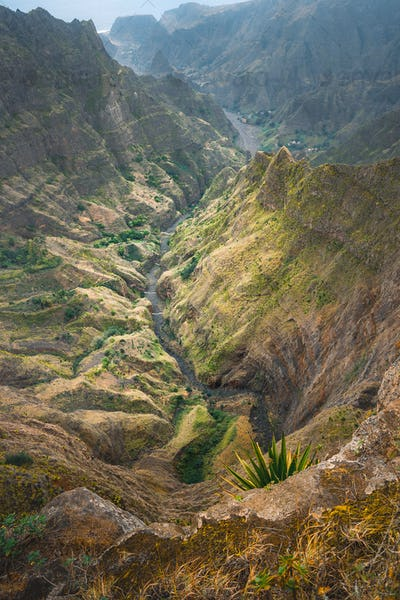 Breathtaking view from Delgadinho mountain ridge. Santo Antao, Cape Verde