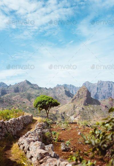 Hiking trail leading through arid rocky terrain towards Caculli village on Santo Antao Cape Verde