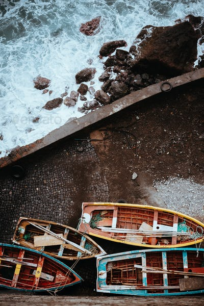 Traditional fishing boats in the harbor. View from above, view top-down. Ponta do Sol Santo Antao