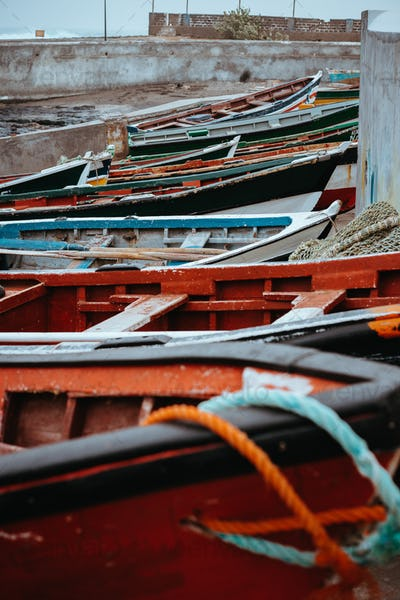 Colored local fishing boats along the old fishing shore. Ponta do Sol Santo Antao Cape Verde