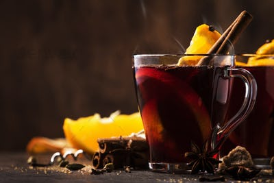 Hot mulled red wine with spices