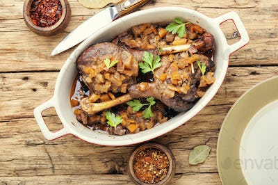 Roasted duck leg with apple sauce