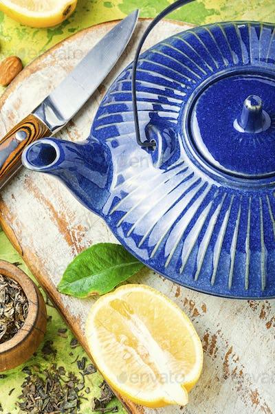 Kettle and tea ingredients
