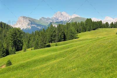 Seceda mountain views from Alpe di Siusi or Seiser Alm, Dolomites Alps , Italy