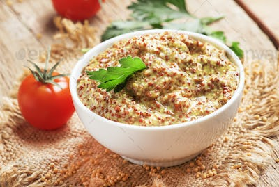 Homemade french mustard with seeds