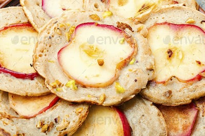 Fried pancakes with apples
