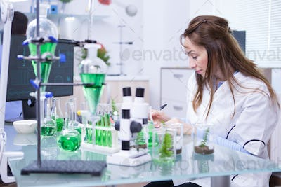 Academic female scientist in a microbiology laboratory