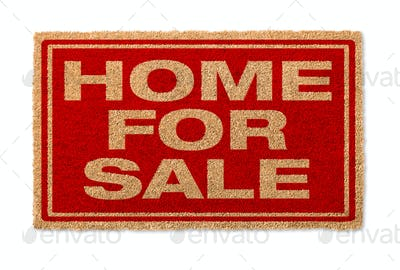 Home For Sale Welcome Mat Isolated On A White Background