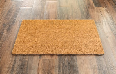 Blank Doormat On Wood Floor Background Ready For Your Own Text