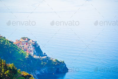 View on architecture of Corniglia town from above. One of five famous colorful villages of Cinque
