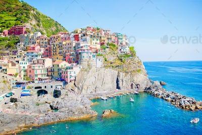 Amazing view of the beautiful village of Manarola in the Cinque Terre Reserve. Liguria region of