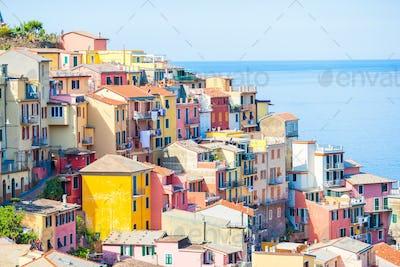View on architecture of Riomaggiore town. Riomaggiore is one of the most popular old village in