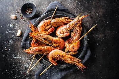 Tasty grilled shrimp skewers