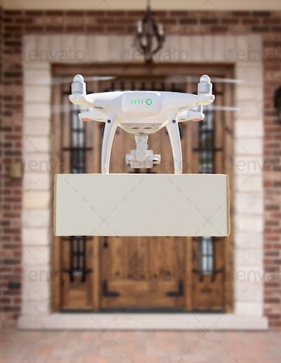 Drone Delivering Package to House Porch