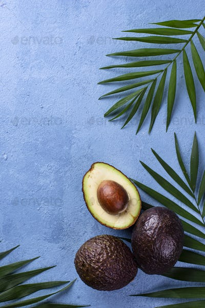 Half and whole avocado and palm leaves